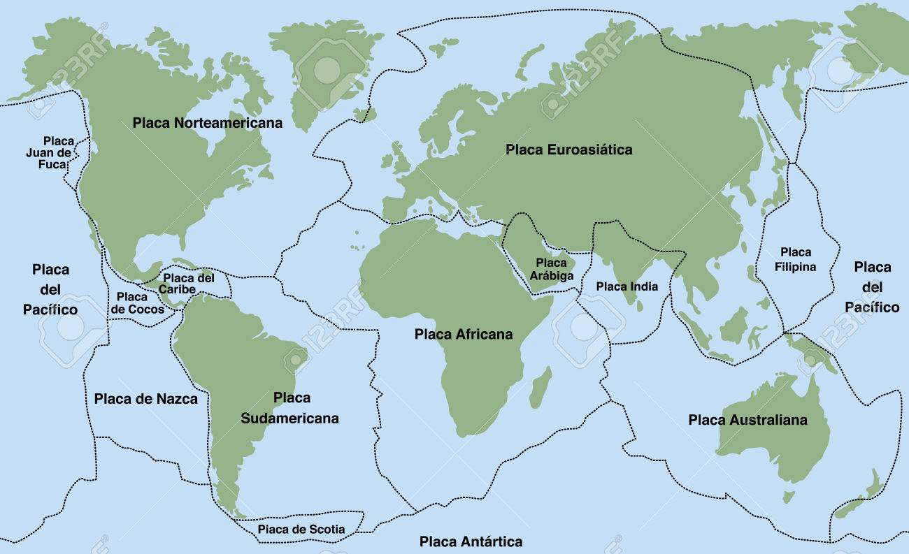 Plate tectonics spanish text planet earth with major an minor plate tectonics spanish text planet earth with major an minor plates vector gumiabroncs Image collections