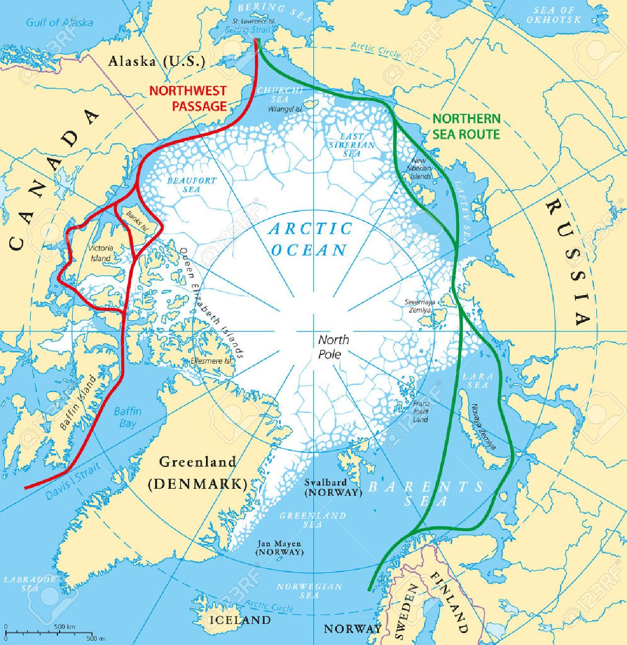 Arctic Ocean sea routes map with Northwest Passage and Northern Sea Route. Arctic Region map with countries, national borders, rivers, lakes and average minimum extent of sea ice. English labeling. - 58784788