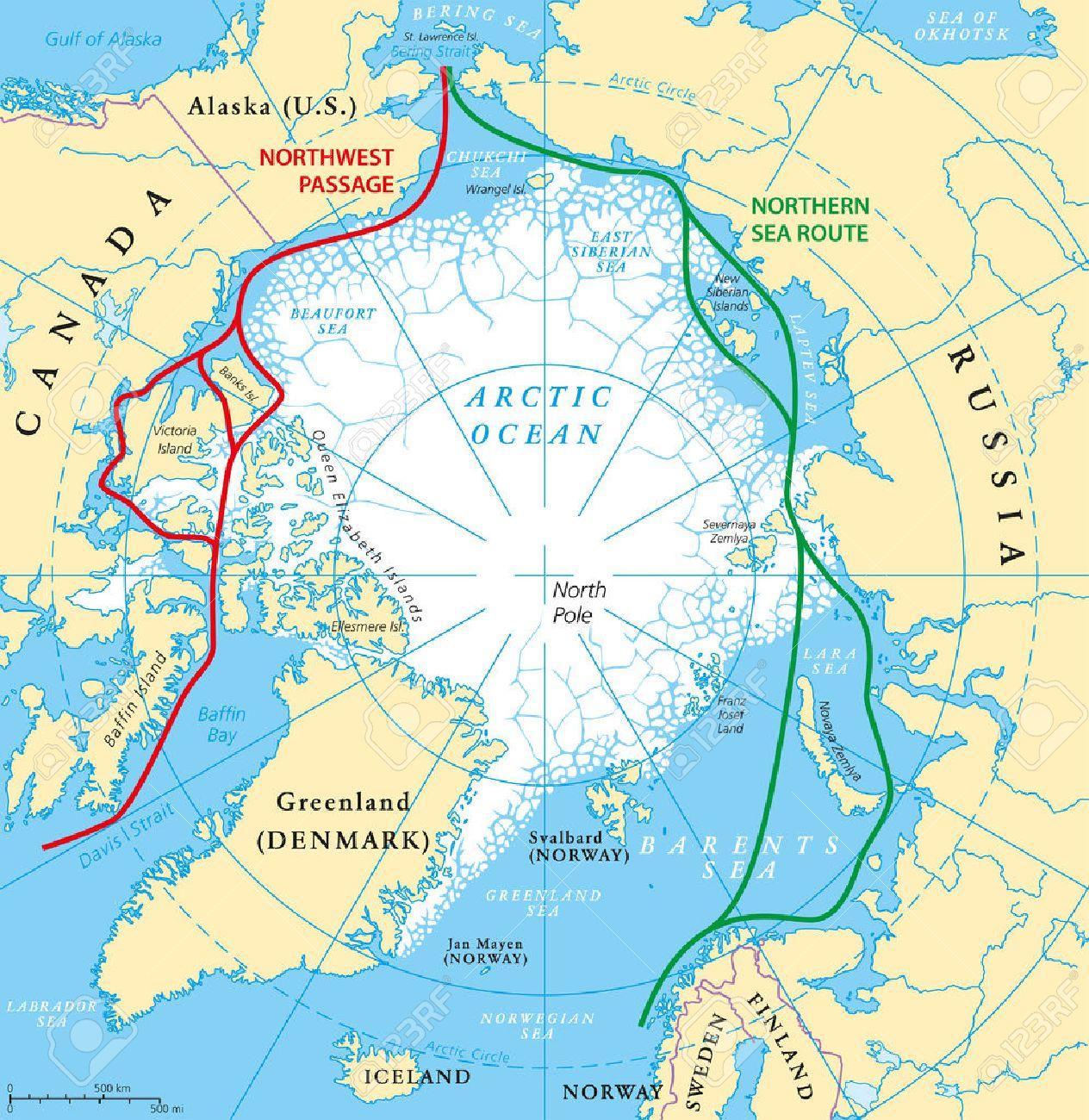 Nordpolarmeer Karte.Stock Photo