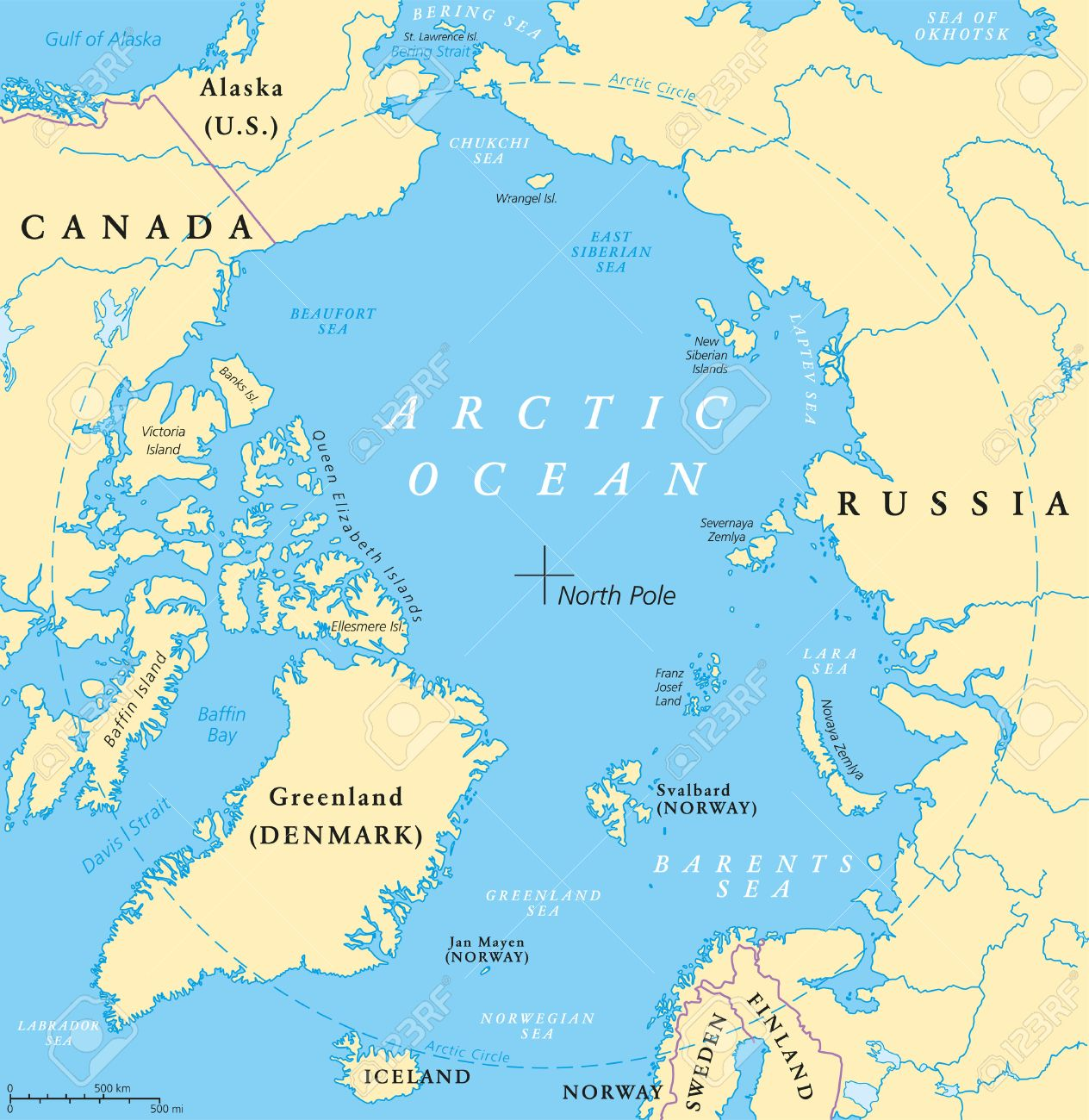 Arctic Ocean map with North Pole and Arctic Circle. Arctic region..