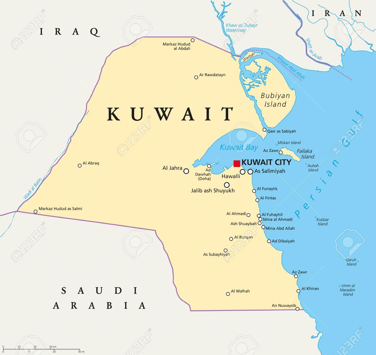 Kuwait Political Map.Kuwait Political Map With Capital Kuwait City National Borders