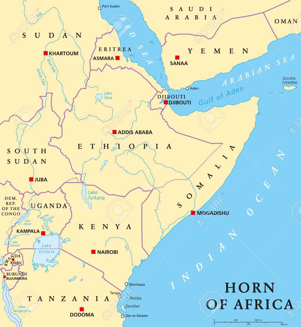 Africa Map Lakes.Horn Of Africa Peninsula Political Map With Capitals National