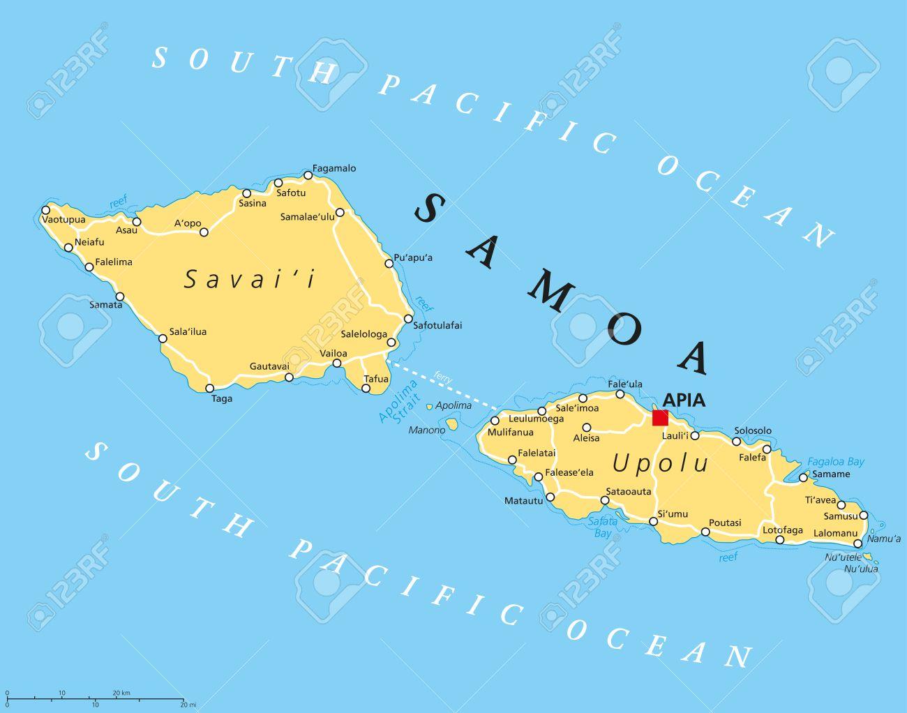 Mapa Politico Con La Capital Apia Samoa Y Lugares Importantes Anteriormente Conocido Como Samoa Occidental Parte De Las Islas De Samoa Con Las