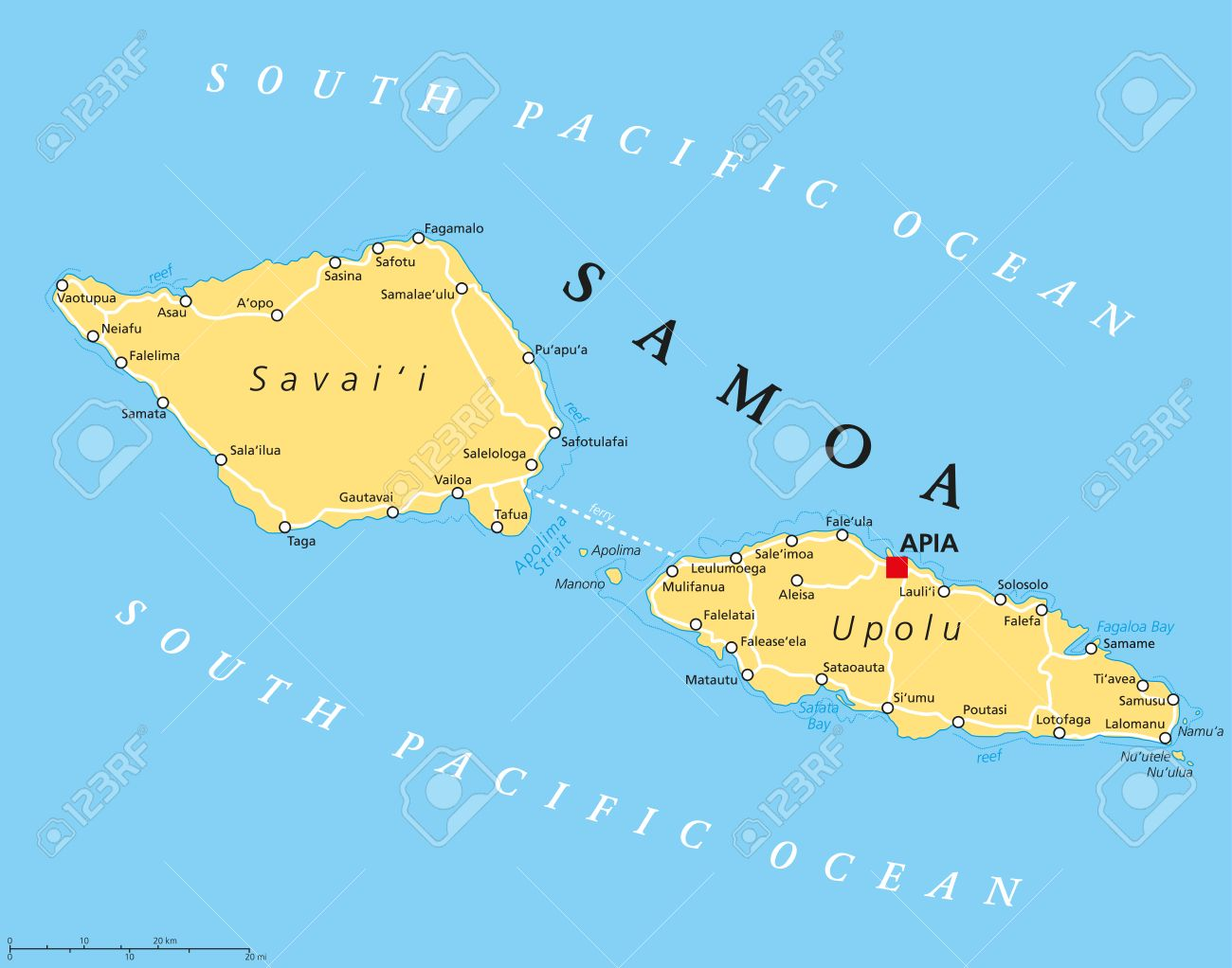 Samoa Political Map With Capital Apia And Important Places Formerly