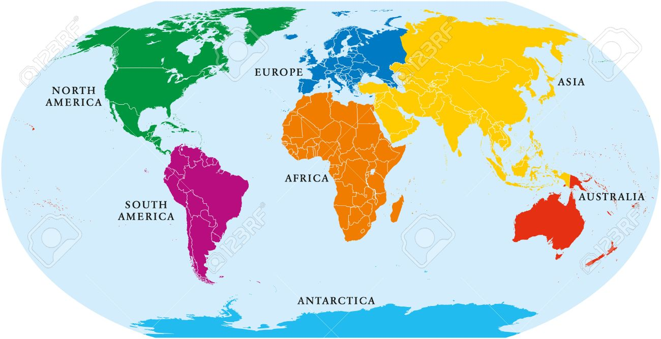 Seven Continents World Map. Asia, Africa, North And South America