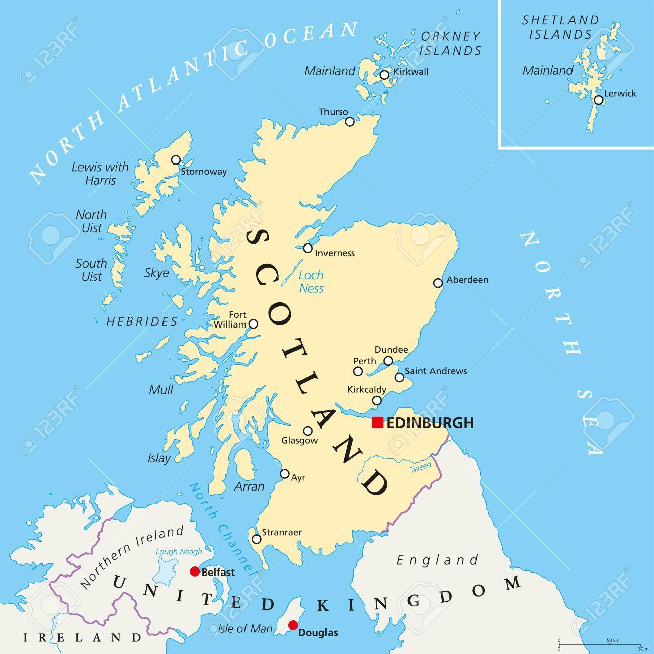 Carte Ecosse.Carte Independante Ecosse Politique Avec Le Capital D Edimbourg Les Frontieres Nationales Et Les Villes Importantes Carte Fictive De L Ecosse Comme
