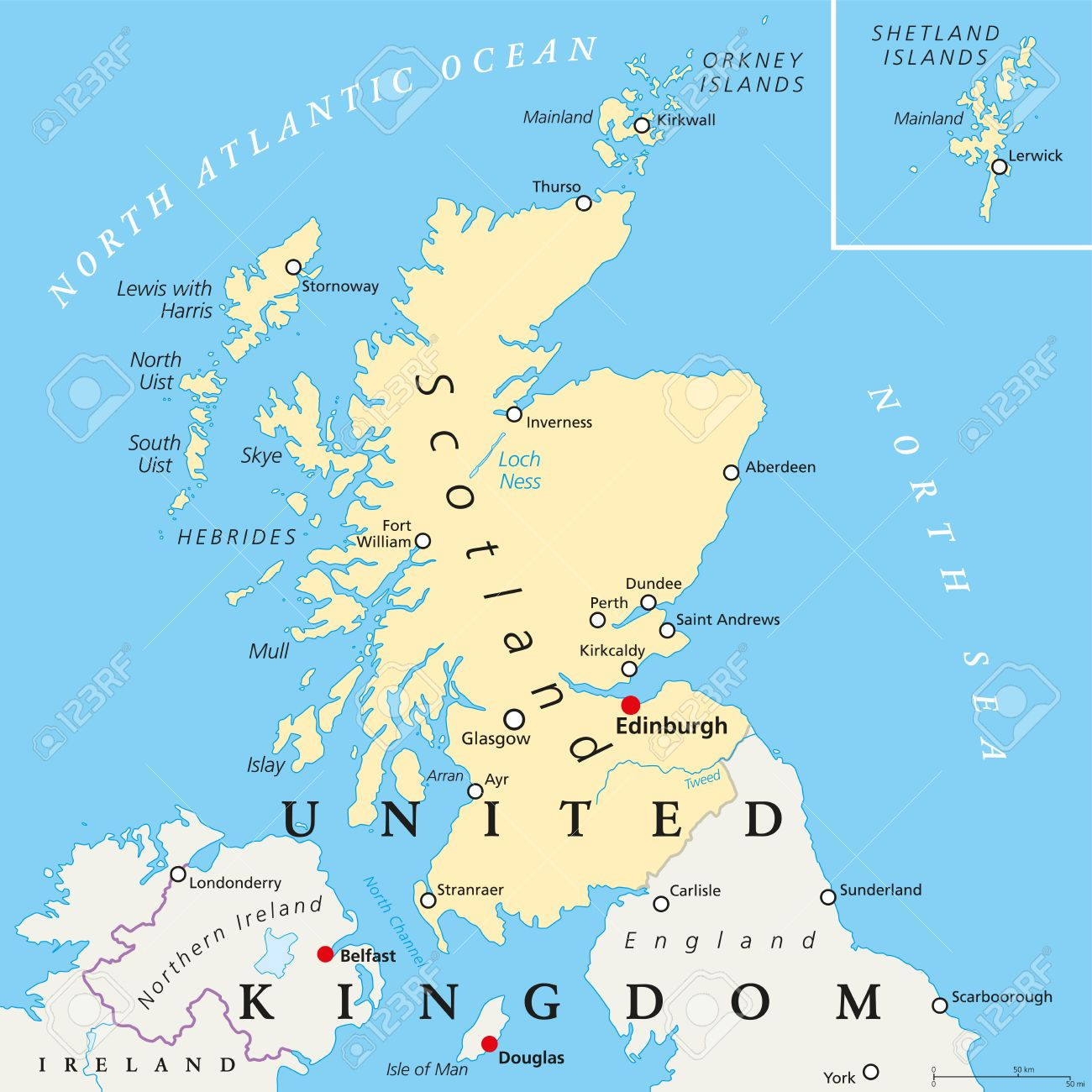 Scotland Political Map With Capital Edinburgh, National Borders ...
