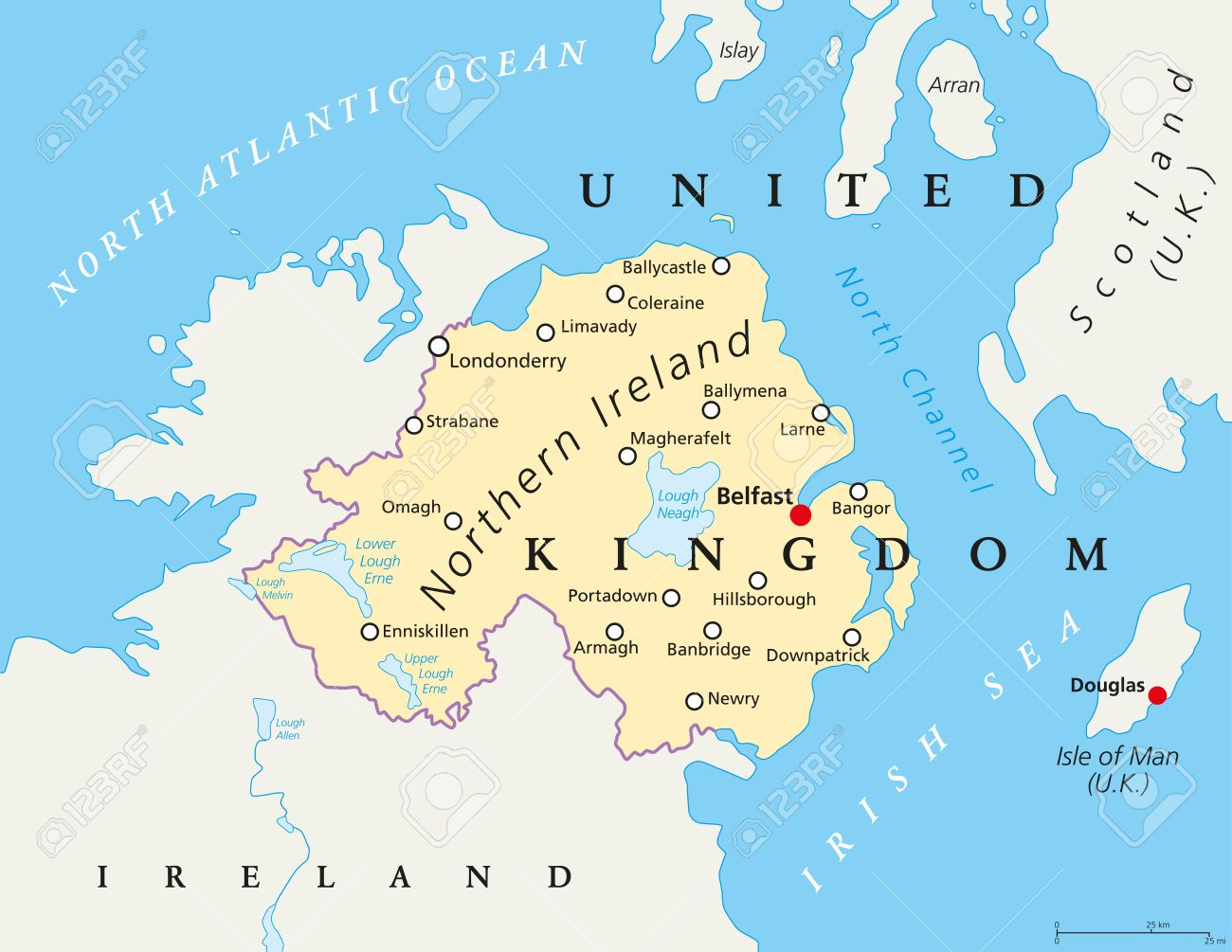 Northern Ireland Political Map With Capital Belfast National - Ireland political map