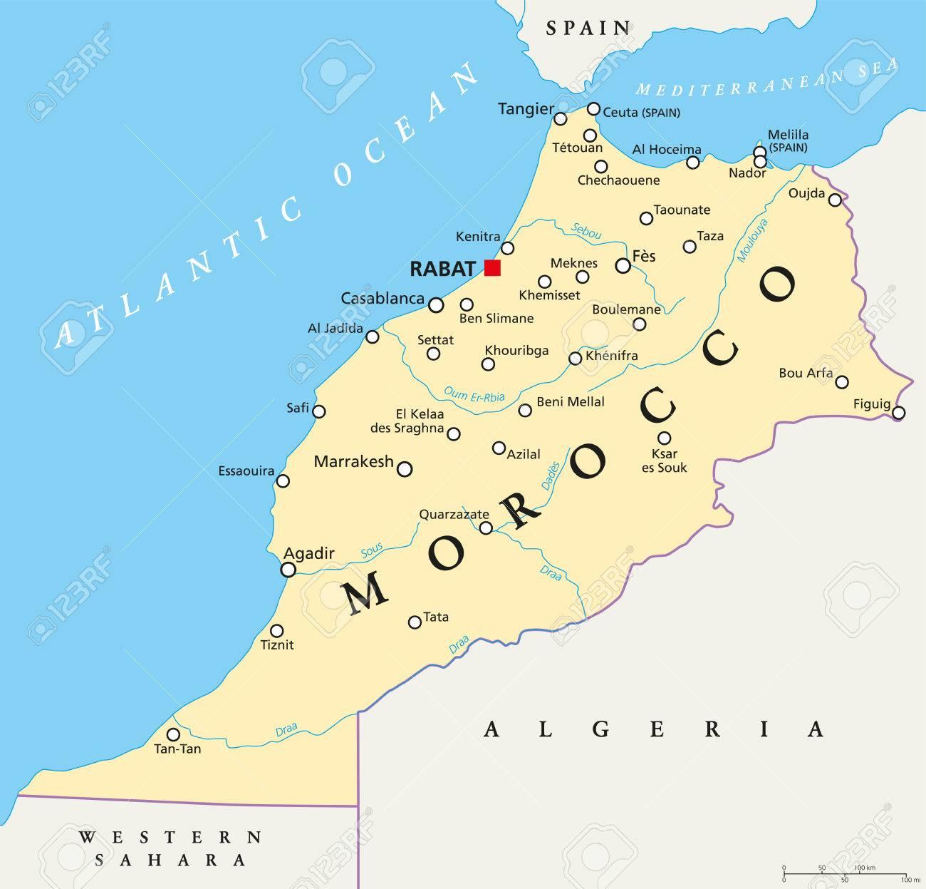 Cartina Marocco.La Mappa Politica Del Marocco Con Capitale Rabat I Confini Nazionali Importanti Citta E Fiumi Illustrazione Con Etichettatura Inglese E