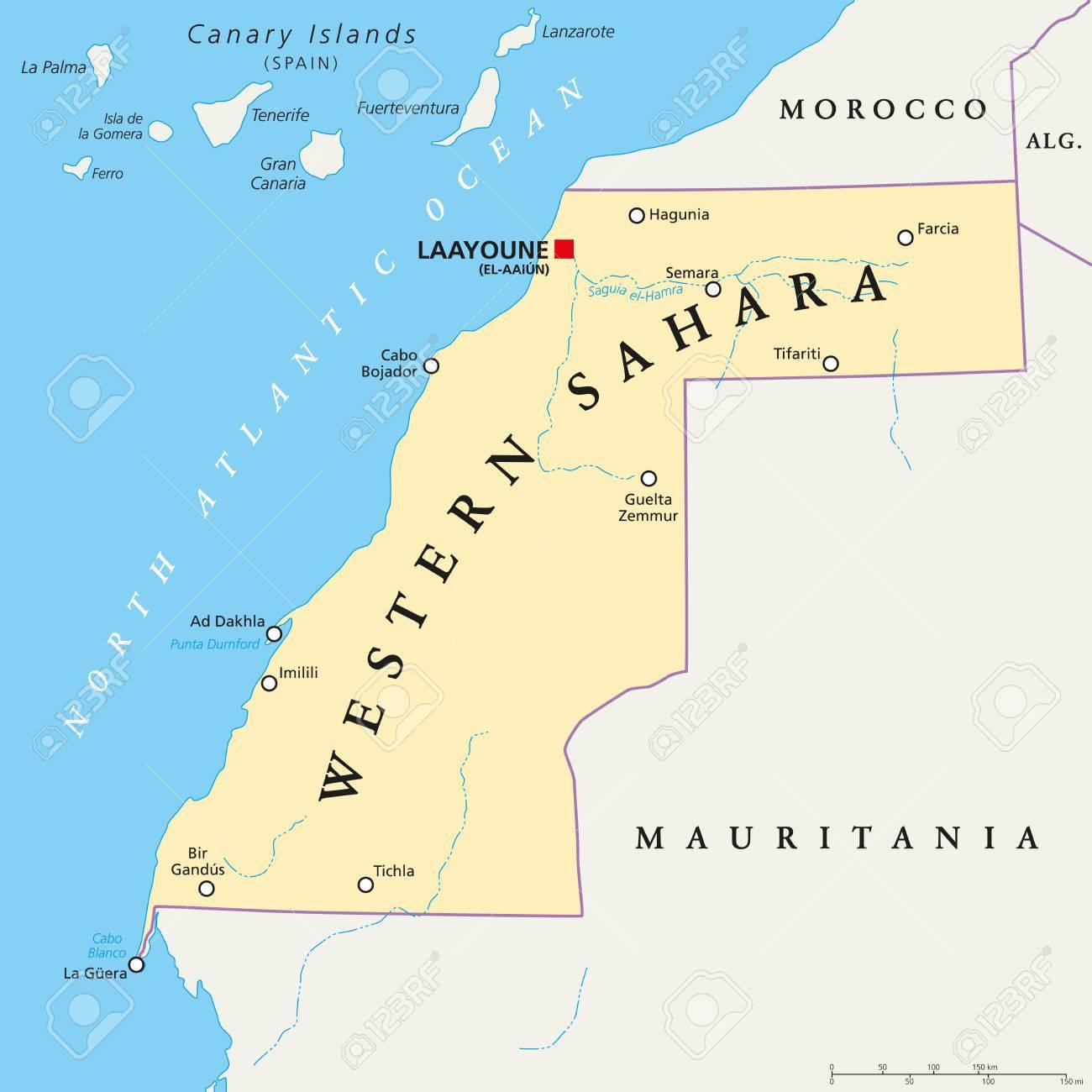 Western Sahara Political Map With Capital Laayoune National