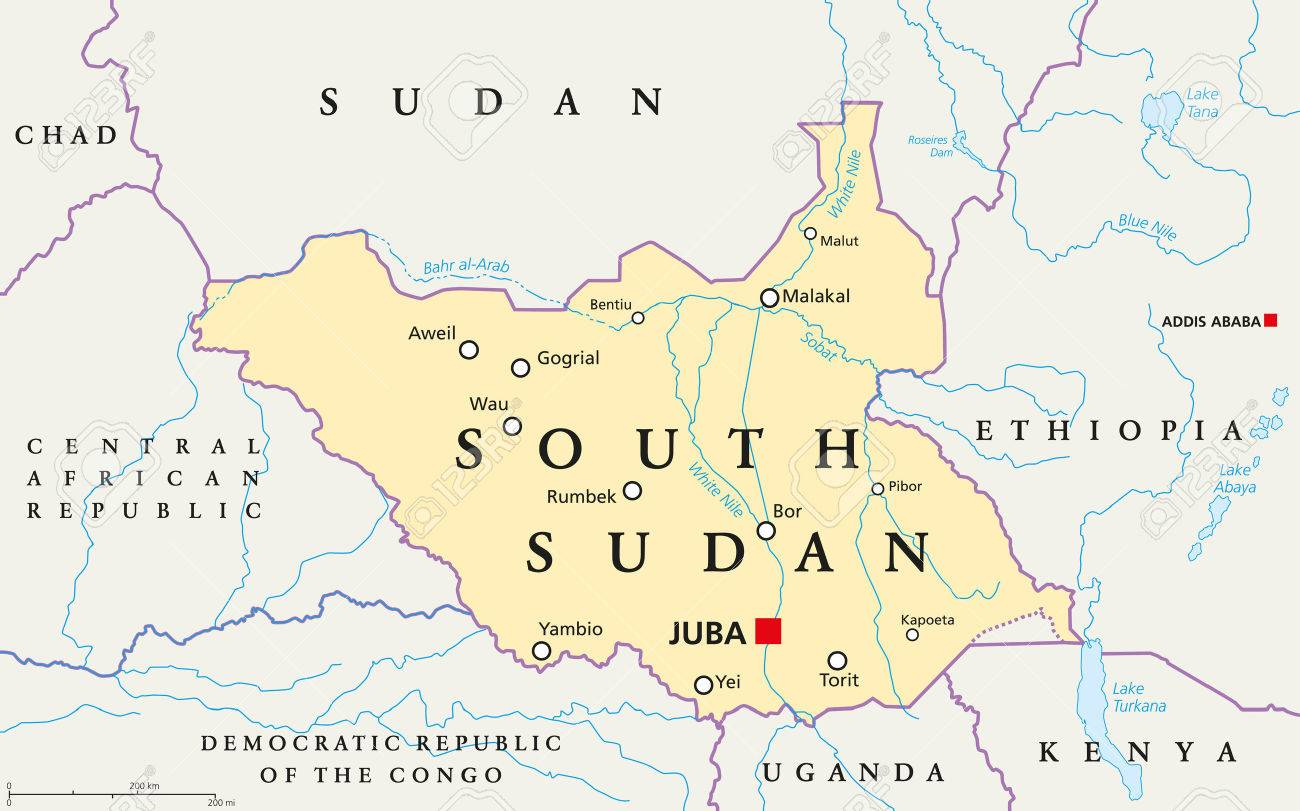 Political Map Of Sudan.South Sudan Political Map With Capital Juba National Borders