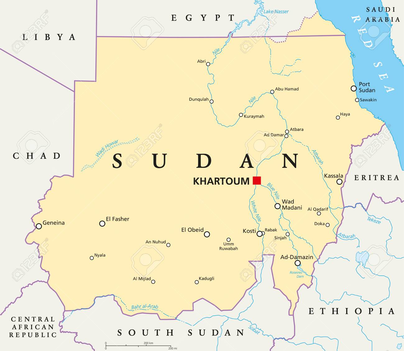 Political Map Of Sudan.Sudan Political Map With Capital Khartoum National Borders