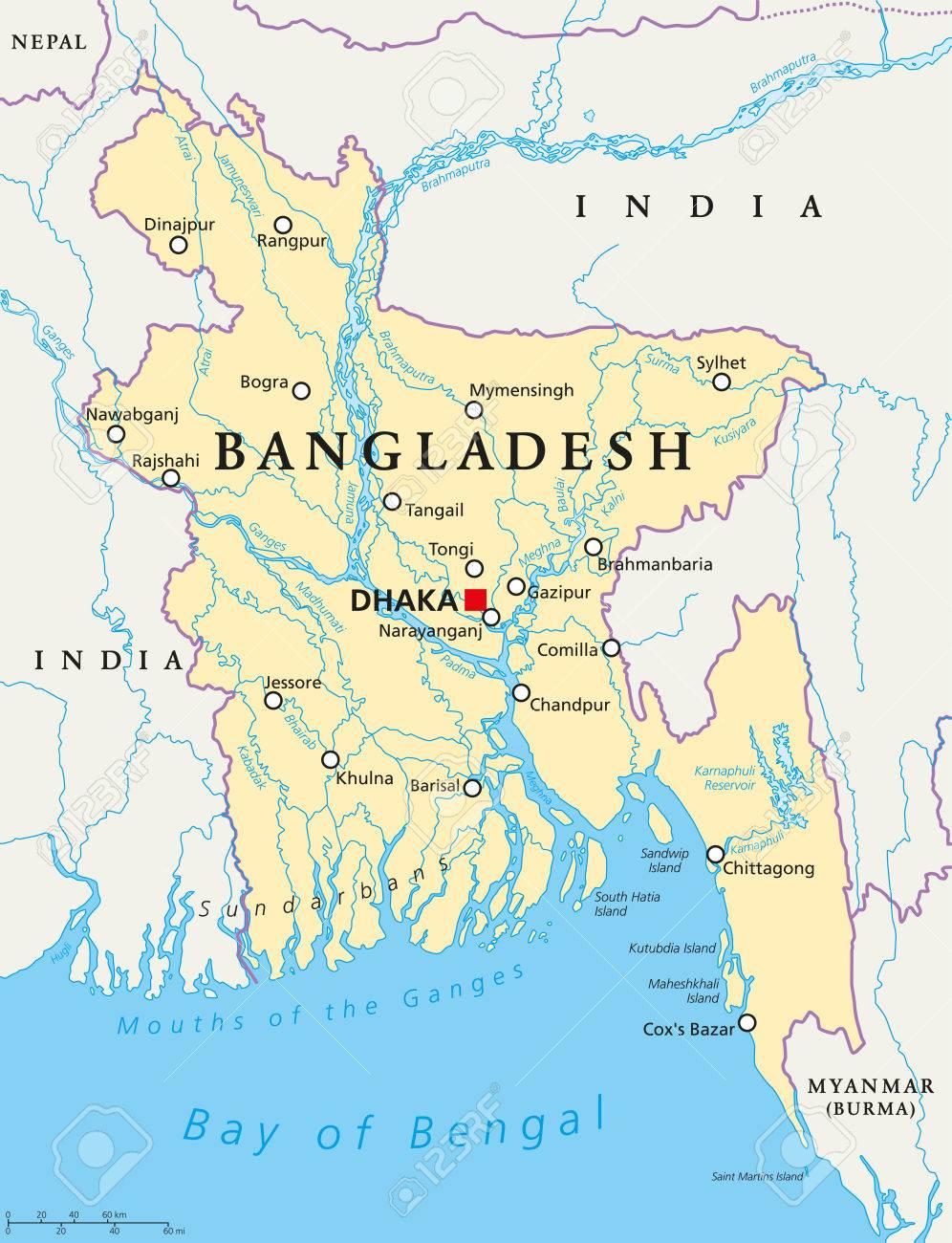 Cartina Mondo Politica Con Capitali.Vettoriale La Mappa Politica Del Bangladesh Con Capitale Dhaka I Confini Nazionali Importanti Citta Fiumi E Laghi Etichettatura Inglese Illustrazione Image 60593675