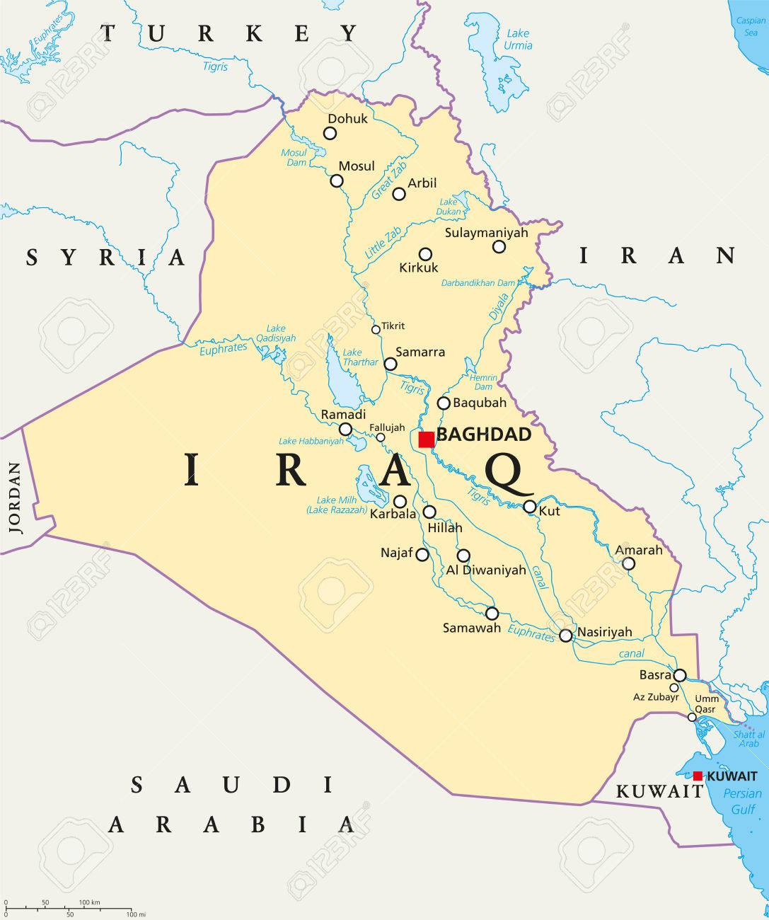 iraq political map with capital baghdad national borders important cities rivers and lakes