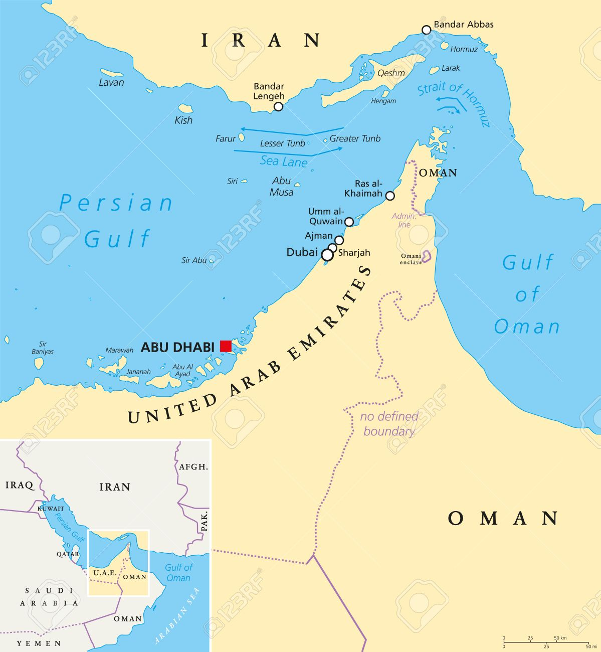 Strait Of Hormuz, Abu Musa And The Tunbs Political Map. Only ...