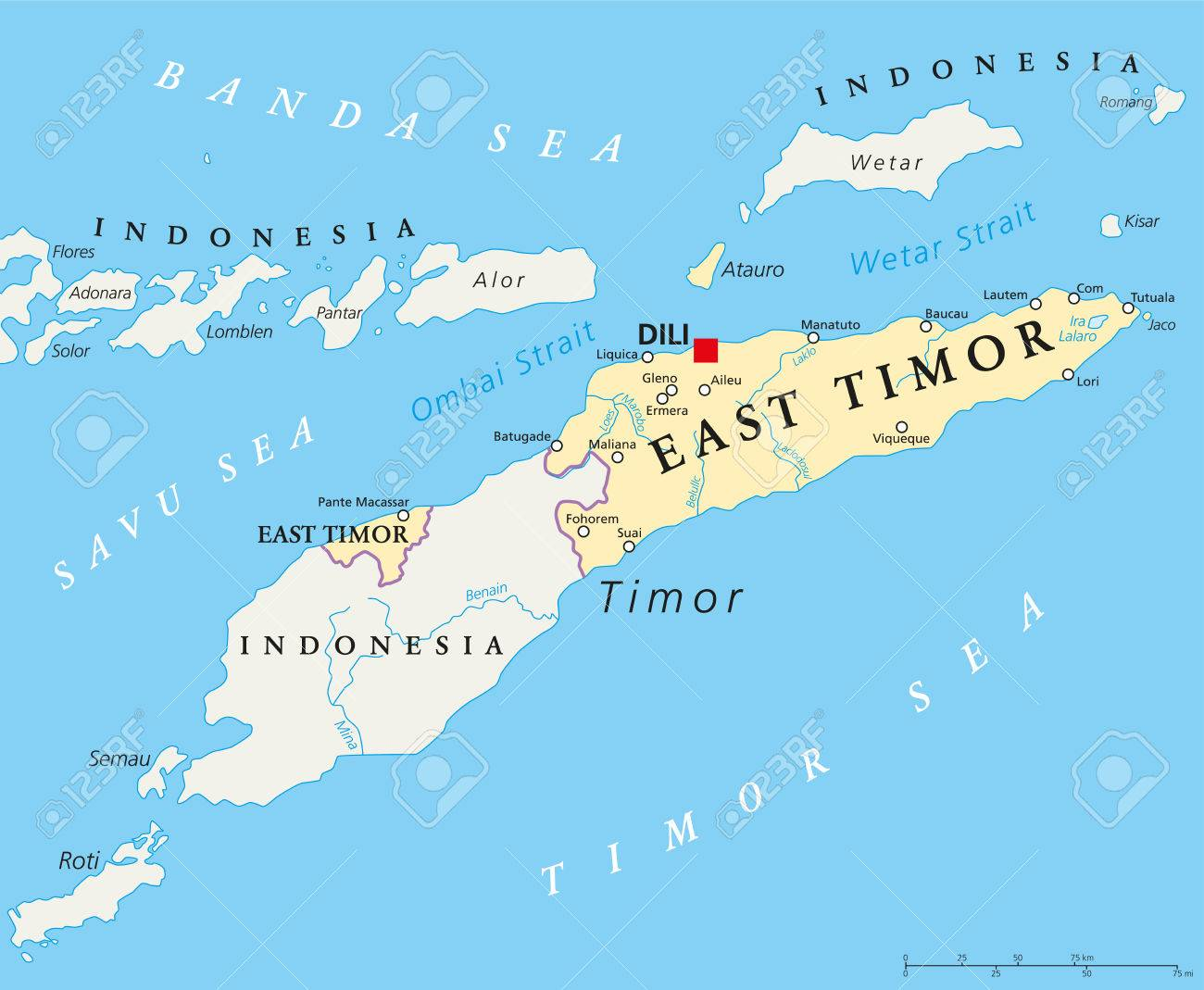 Picture of: East Timor Political Map With Capital Dili National Borders Royalty Free Cliparts Vectors And Stock Illustration Image 59360980