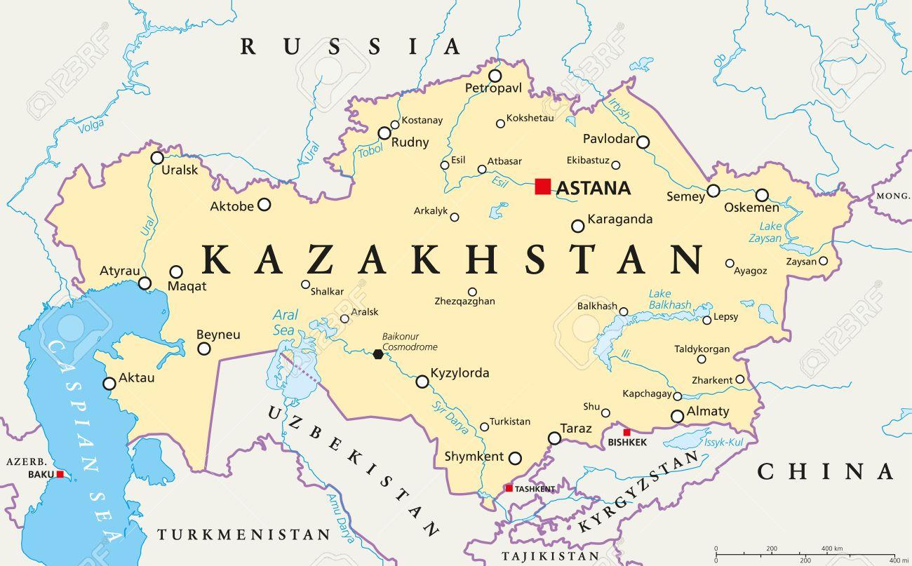 Cartina Mondo Con Capitali.Vettoriale La Mappa Politica Del Kazakistan Con Capitale Astana I Confini Nazionali Importanti Citta Fiumi E Laghi Repubblica In Asia Centrale E Il Mondo Piu Grande Paese Senza Sbocco Sul Mare