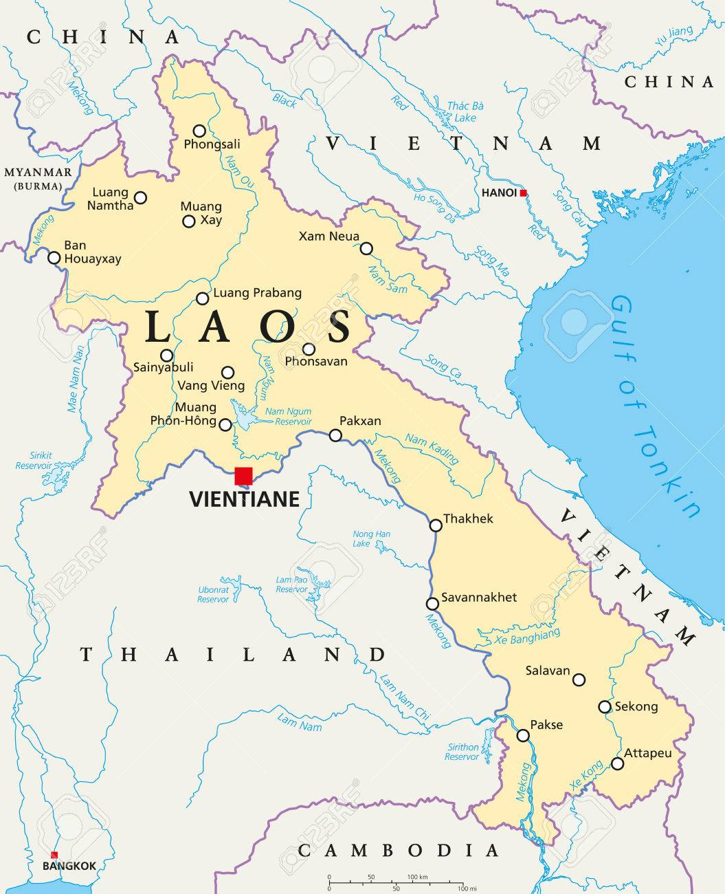 laos political map with capital vientiane national borders important cities rivers and lakes