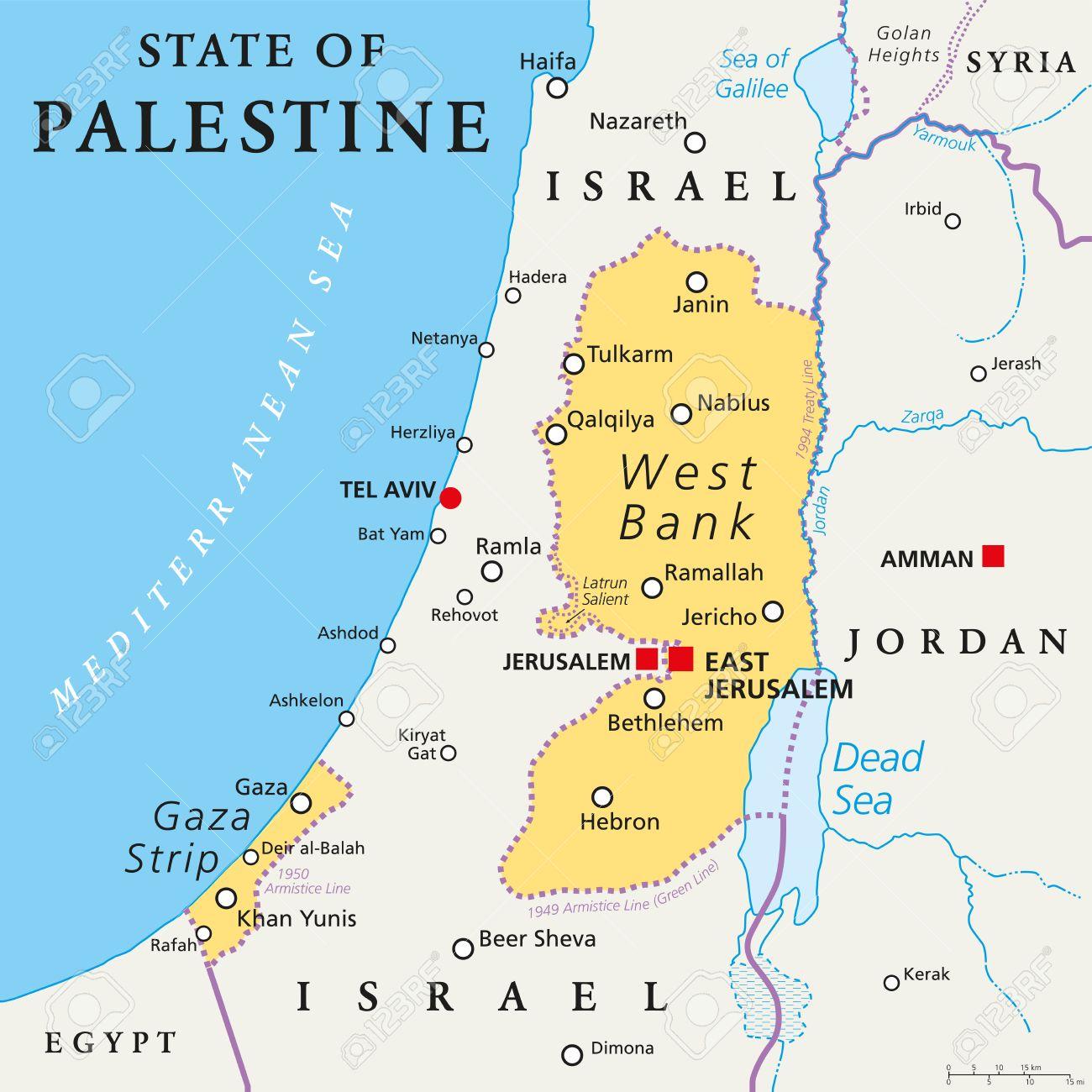 Franja De Gaza Mapa.Estado De Palestina Con El Capital Designado Jerusalen Este Reclamando Cisjordania Y La Franja De Gaza Mapa Politico Con Fronteras Y Lugares