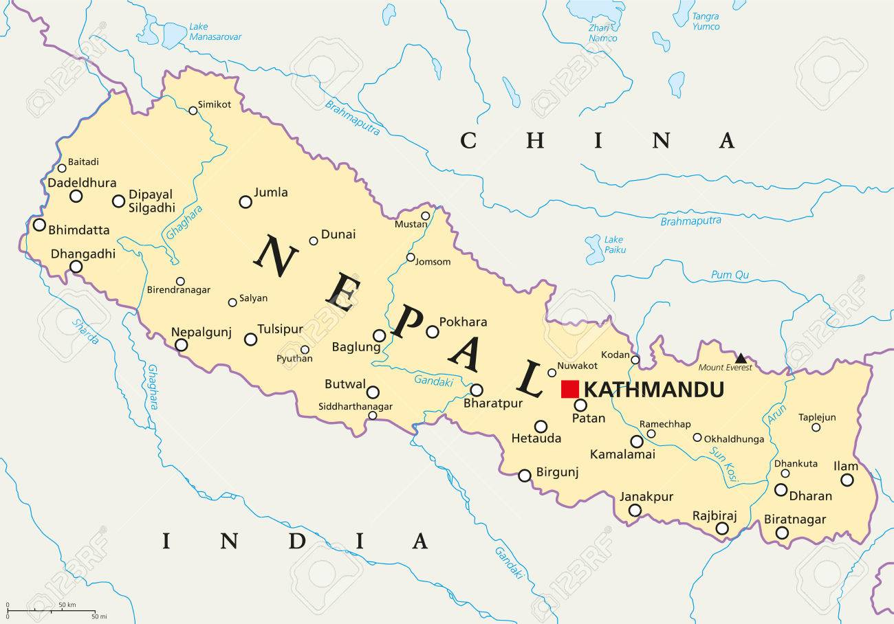 Nepal Political Map With Capital Kathmandu National Borders - China political map in english
