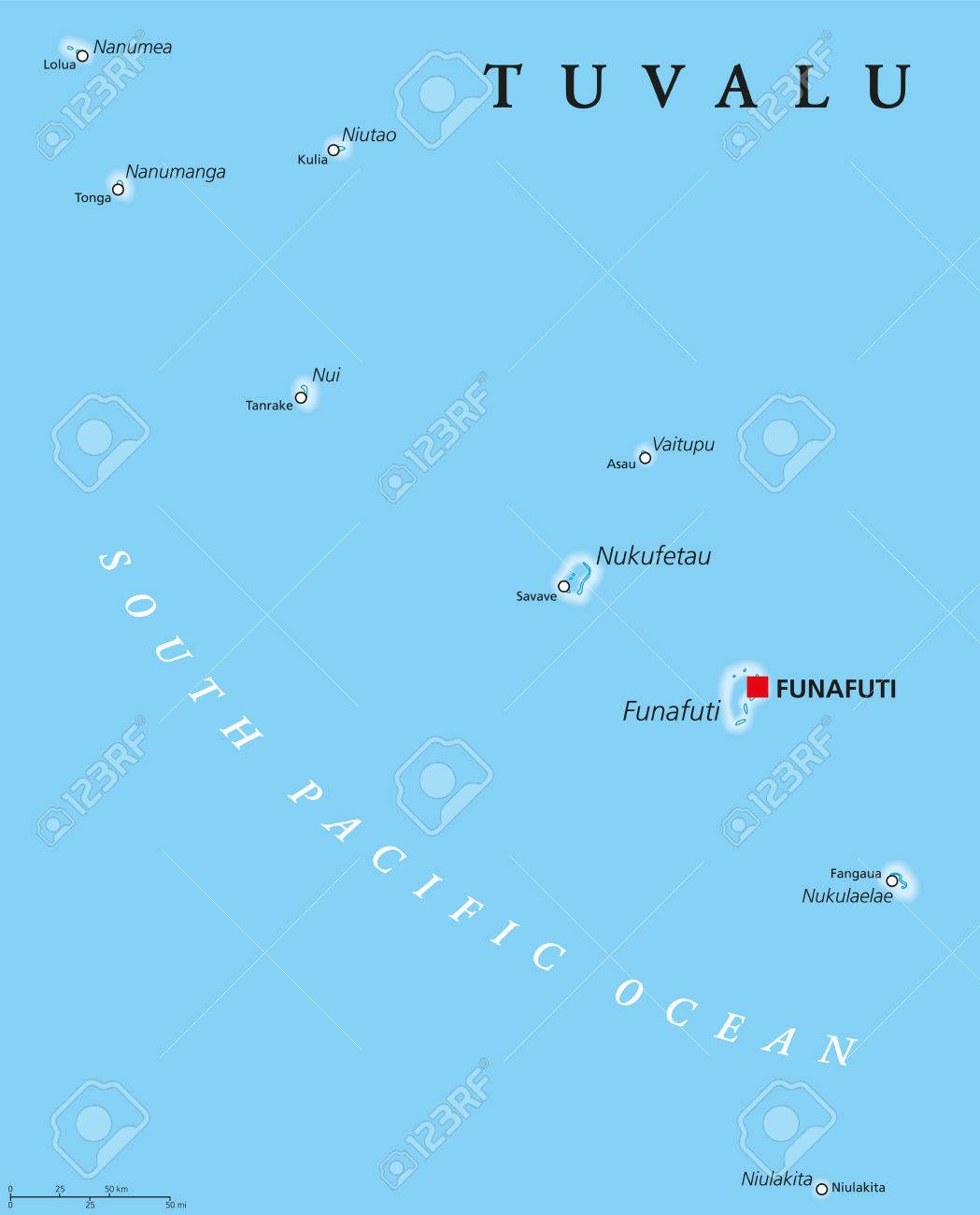 Tuvalu Political Map With Capital Funafuti And Important Villages