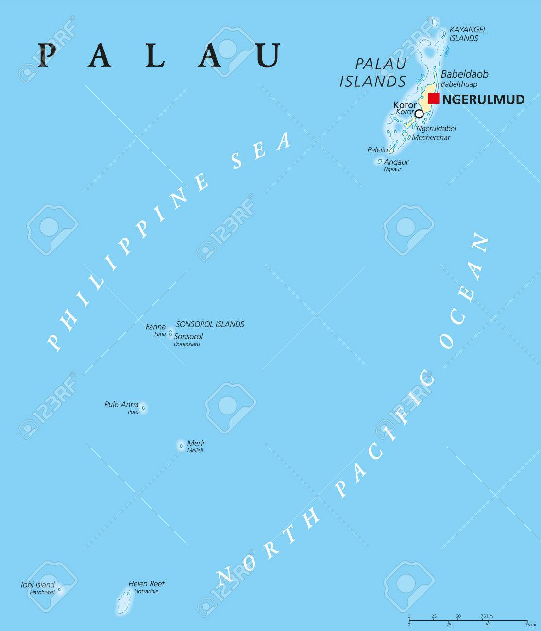 Palau Political Map With Capital Ngerulmud Republic And Iceland