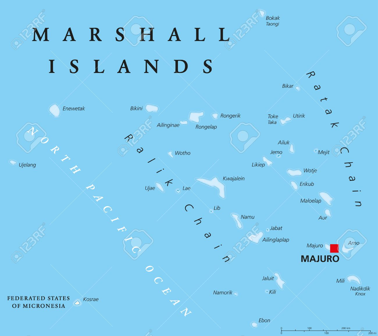 Marshall Islands Political Map With Capital Majuro Republic - Marshall islands map