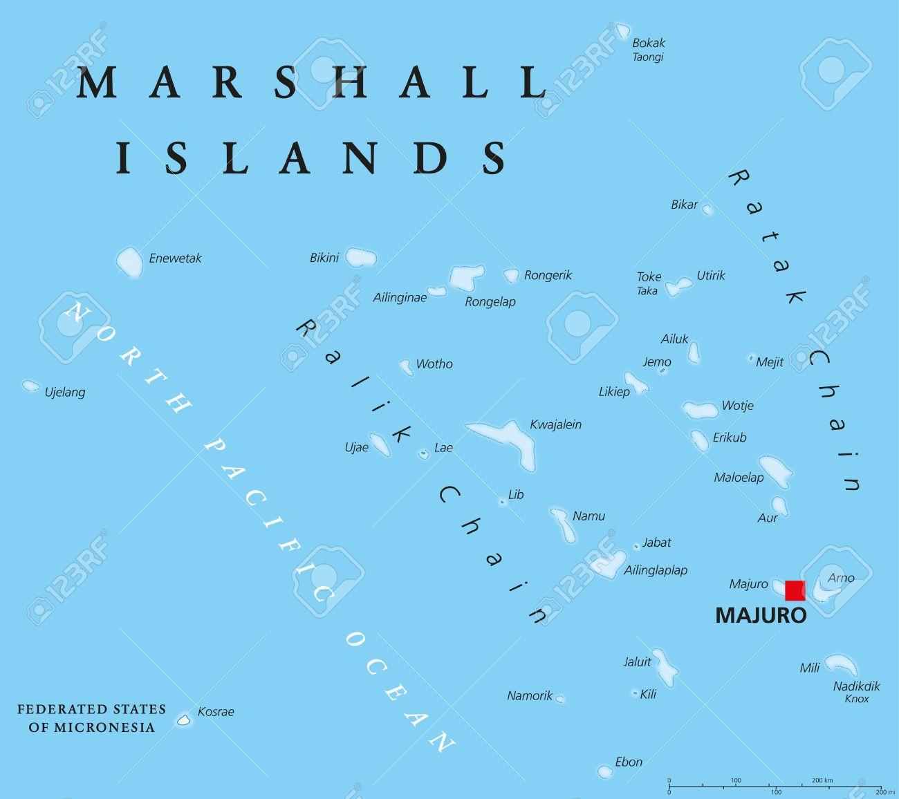 Marshall Islands political map with capital Majuro. Republic.. on kiribati map, tuvalu map, united arab emirates map, el salvador map, marshall islands map, mayotte map, bangladesh map, sri lanka map, senegal map, cook islands map, gambia map, cayman islands map, burkina faso map, costa rica map, india map, papua new guinea map, congo map, saudi arabia map, greenland map, hungary map,