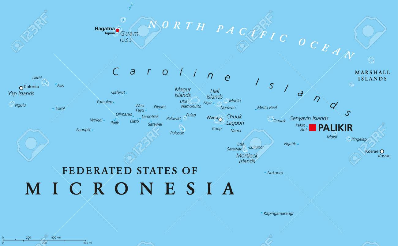 Federated States Of Micronesia Political Map With Capital Palikir - United states western states capitals map