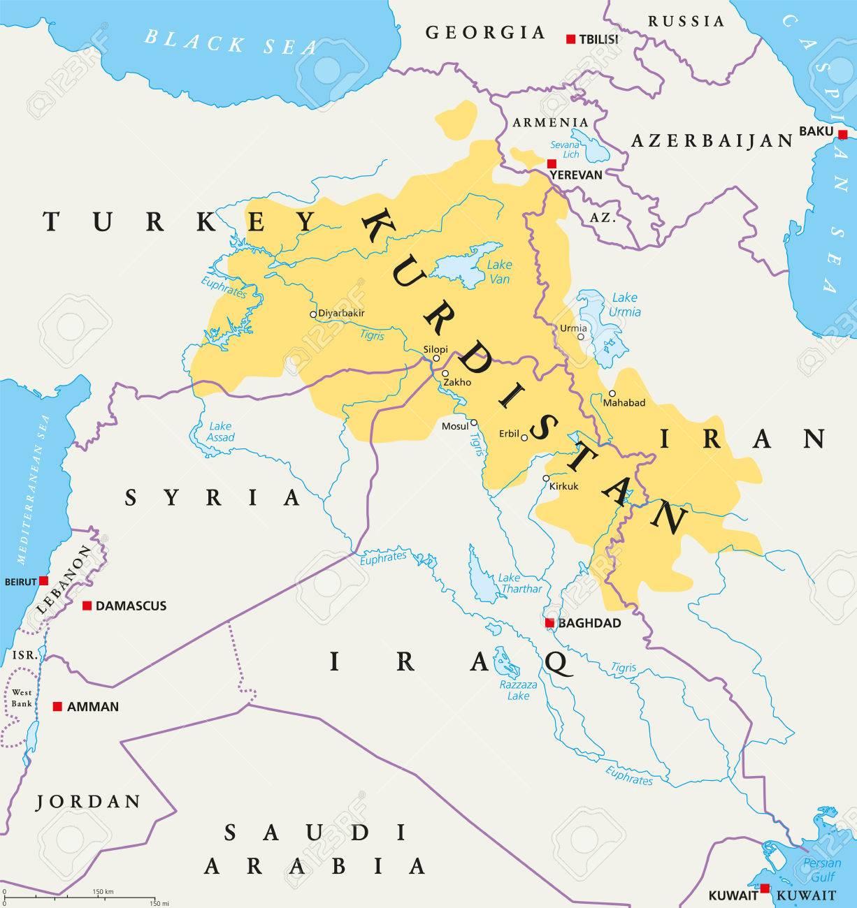 Kurdistan Karte 2019.Stock Photo