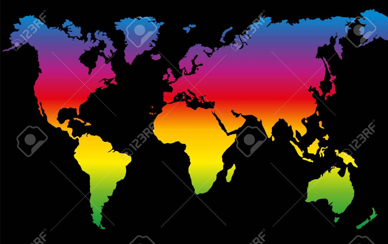 Rainbow colored world map on black background royalty free cliparts rainbow colored world map on black background stock vector 63925923 gumiabroncs Images