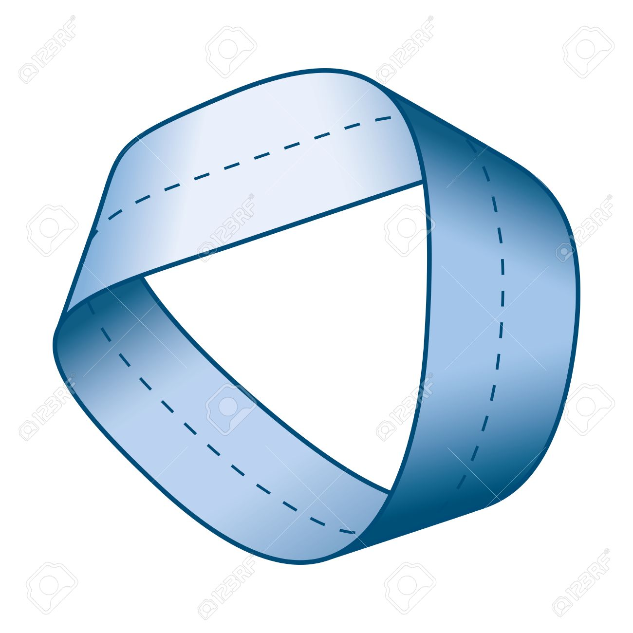 Blue Moebius strip or Mobius band with centerline. Surface with only one  side and one boundary. Take a paper strip and give it a half twist, then  join the ...