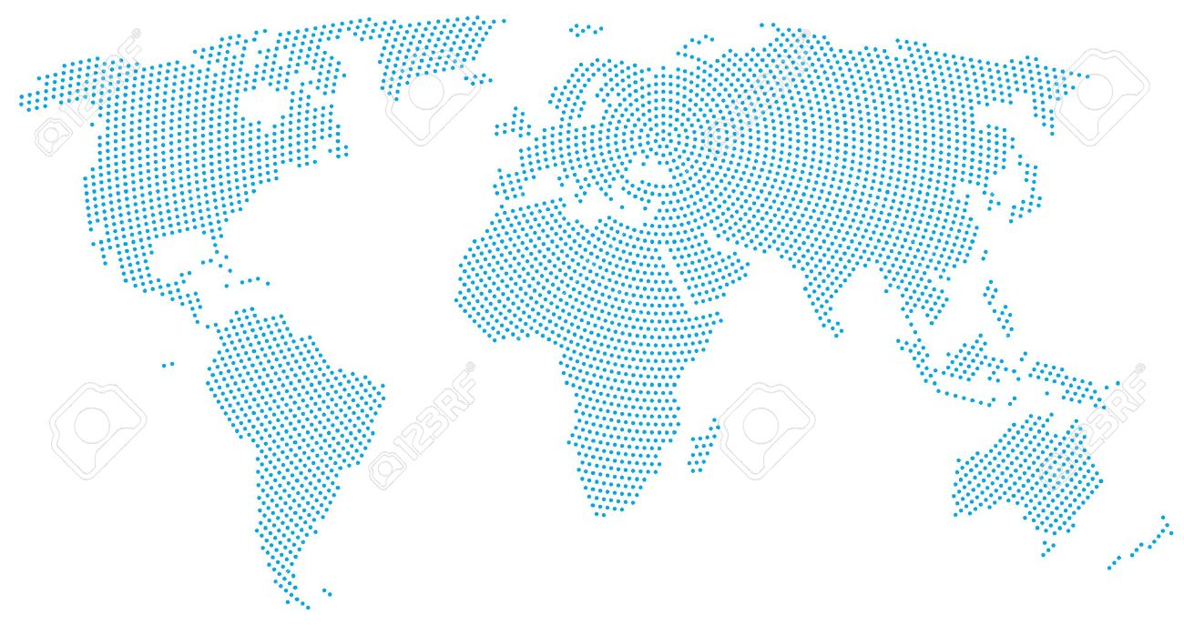 World map radial dot pattern blue dots going from the center vector world map radial dot pattern blue dots going from the center outwards and form the silhouette of the surface of the earth under the robinson gumiabroncs