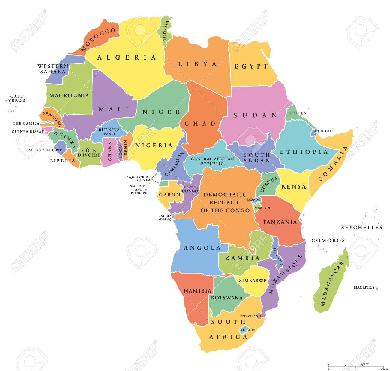 Africa Single States Political Map Each Country With Its Own