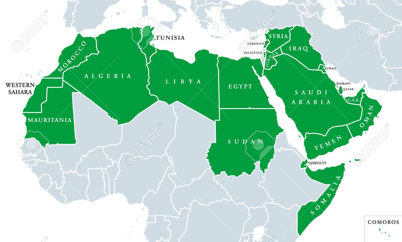 arab world political map also called arab nation consists of twenty two arabic