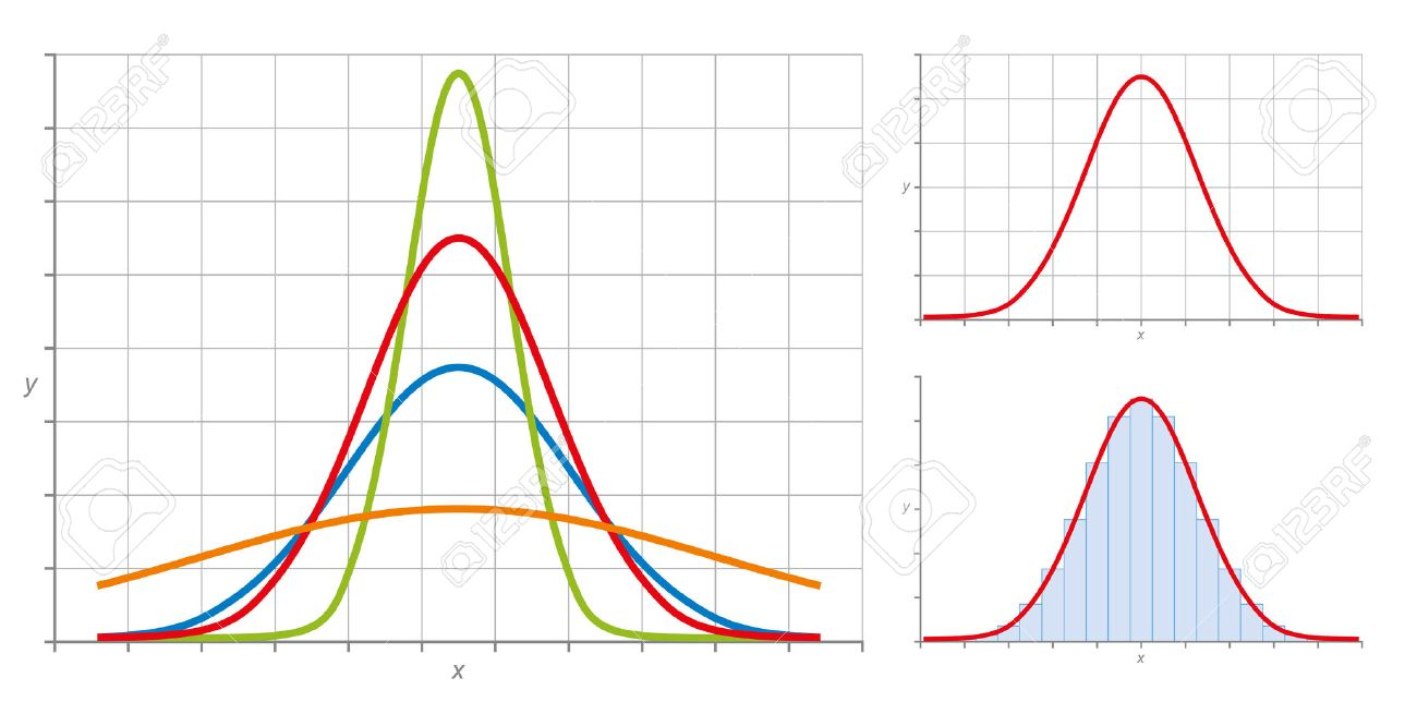 Normal distribution, also Gaussian distribution or Bell curve. Very common in probability theory. The red curve shows the standard normal distribution. Illustration on white background. - 62145976
