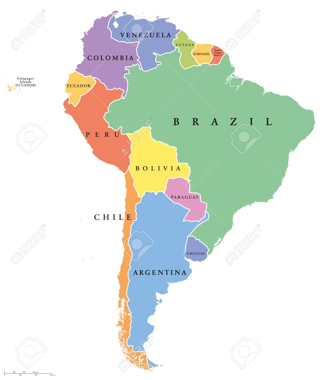 South America single states political map. All countries in different..