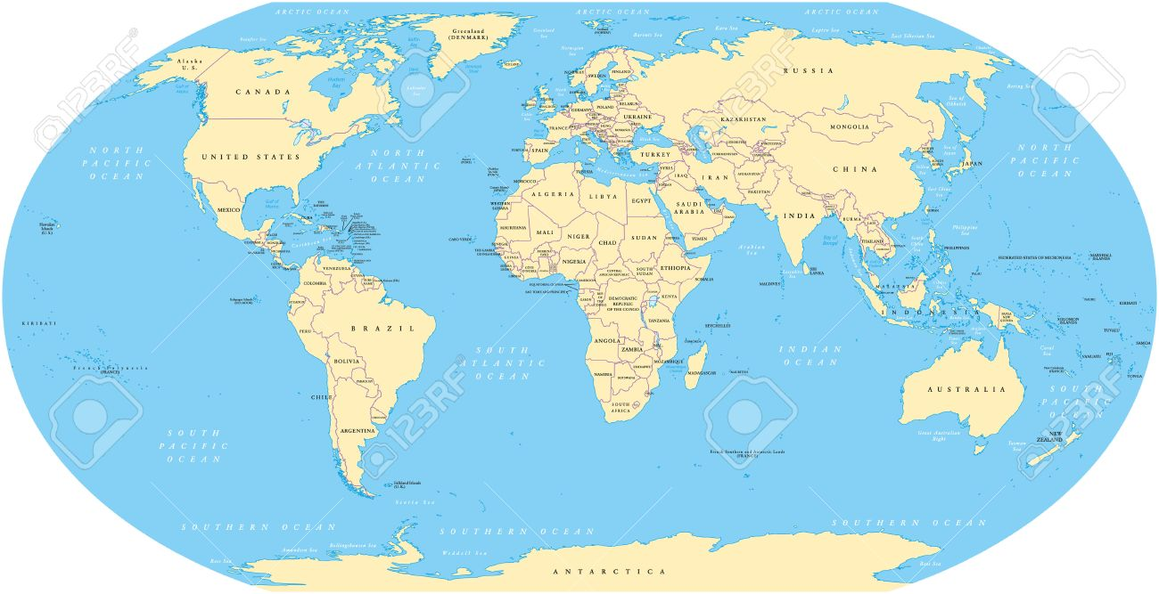 World Map With Shorelines National Borders Oceans And Seas - World map oceans labeled