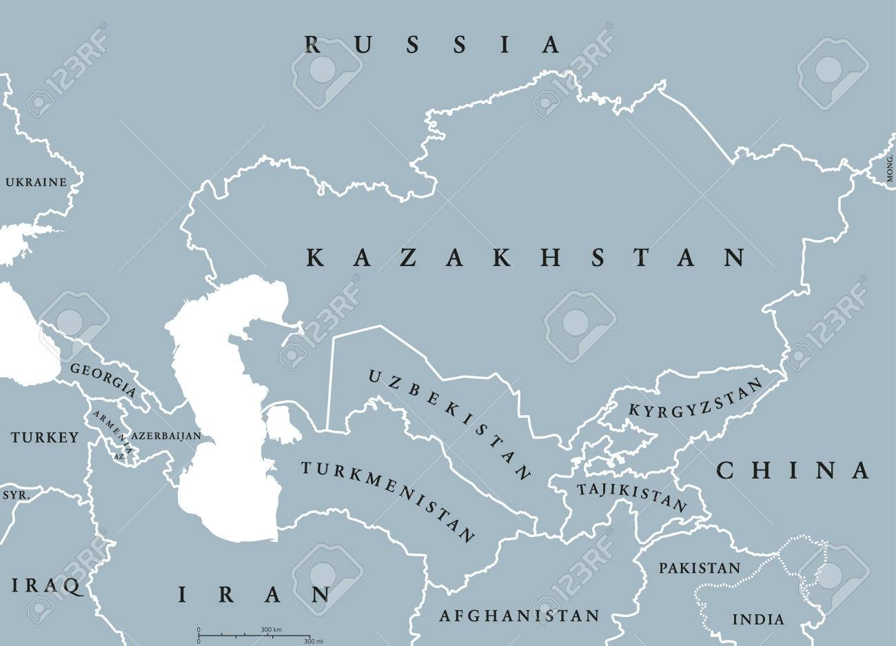 Caucasus And Central Asia Countries Political Map With National