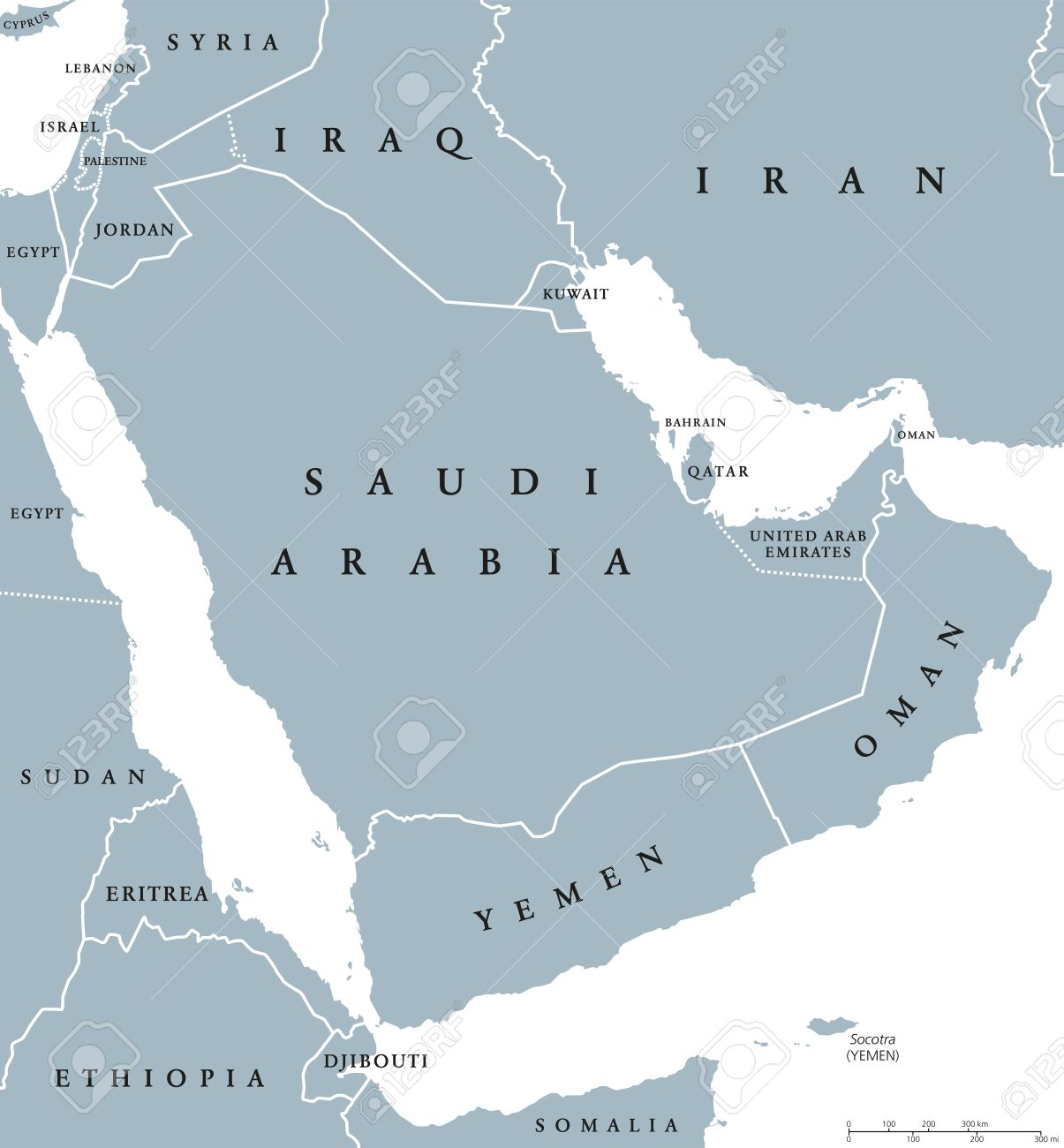 Arabian Peninsula Map Arabian Peninsula Countries Political Map With National Borders  Arabian Peninsula Map