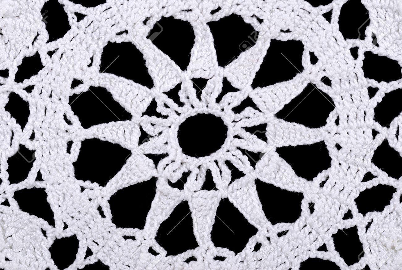 La Estrella En Un Tapete De Ganchillo Blanca. Crochet Es Un Proceso ...