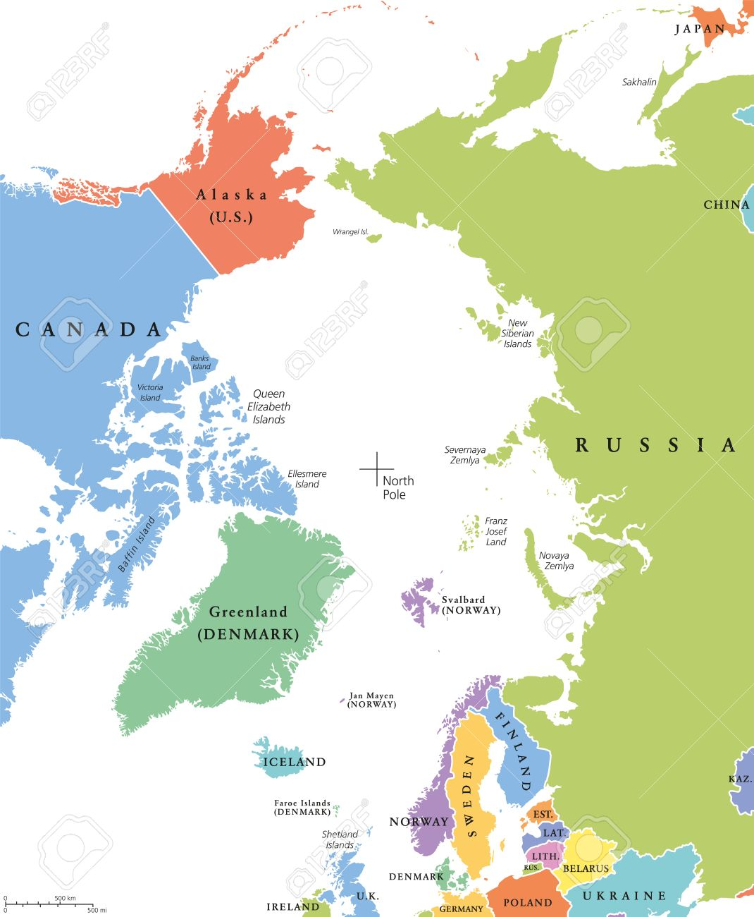 Arctic region single states and north pole political map nations arctic region single states and north pole political map nations in different colors with publicscrutiny Image collections