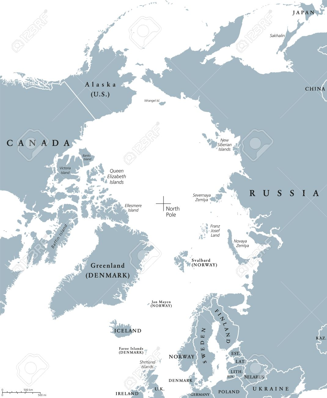 Arctic region countries and north pole political map with national arctic region countries and north pole political map with national borders and country names arctic gumiabroncs Images