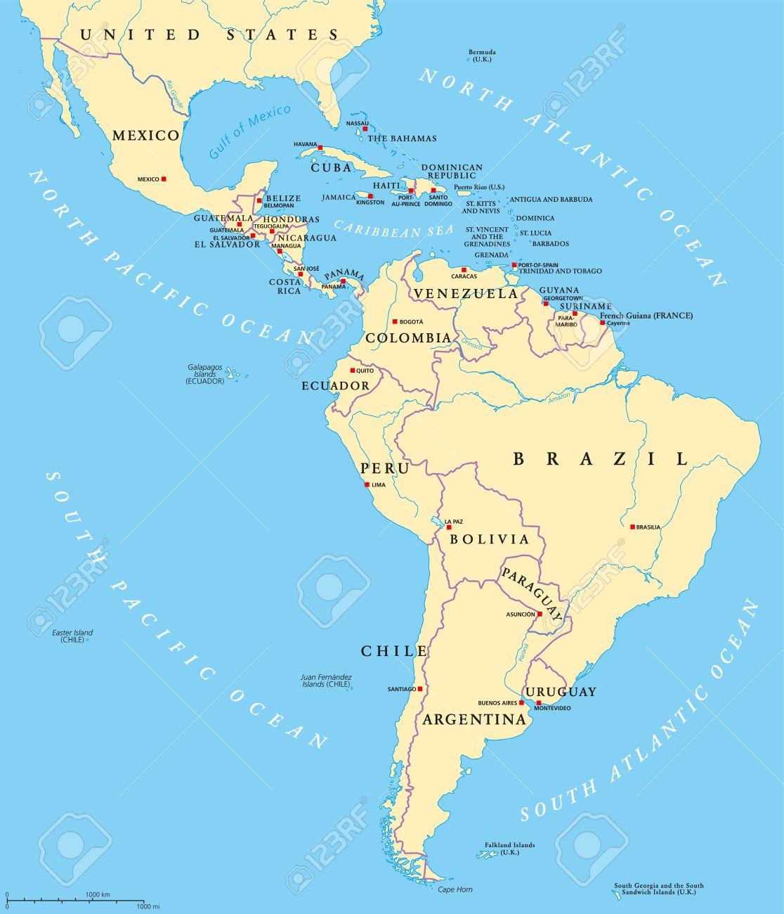 America Latina Mapa Politico Con Mayusculas De Las Fronteras Nacionales Rios Y Lagos
