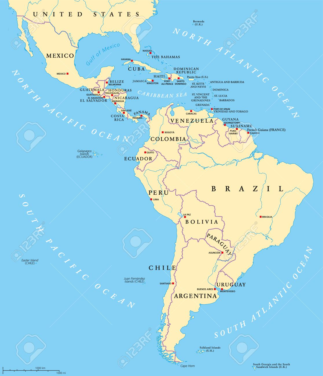 Map Of North America With Rivers And Lakes.Latin America Political Map With Capitals National Borders