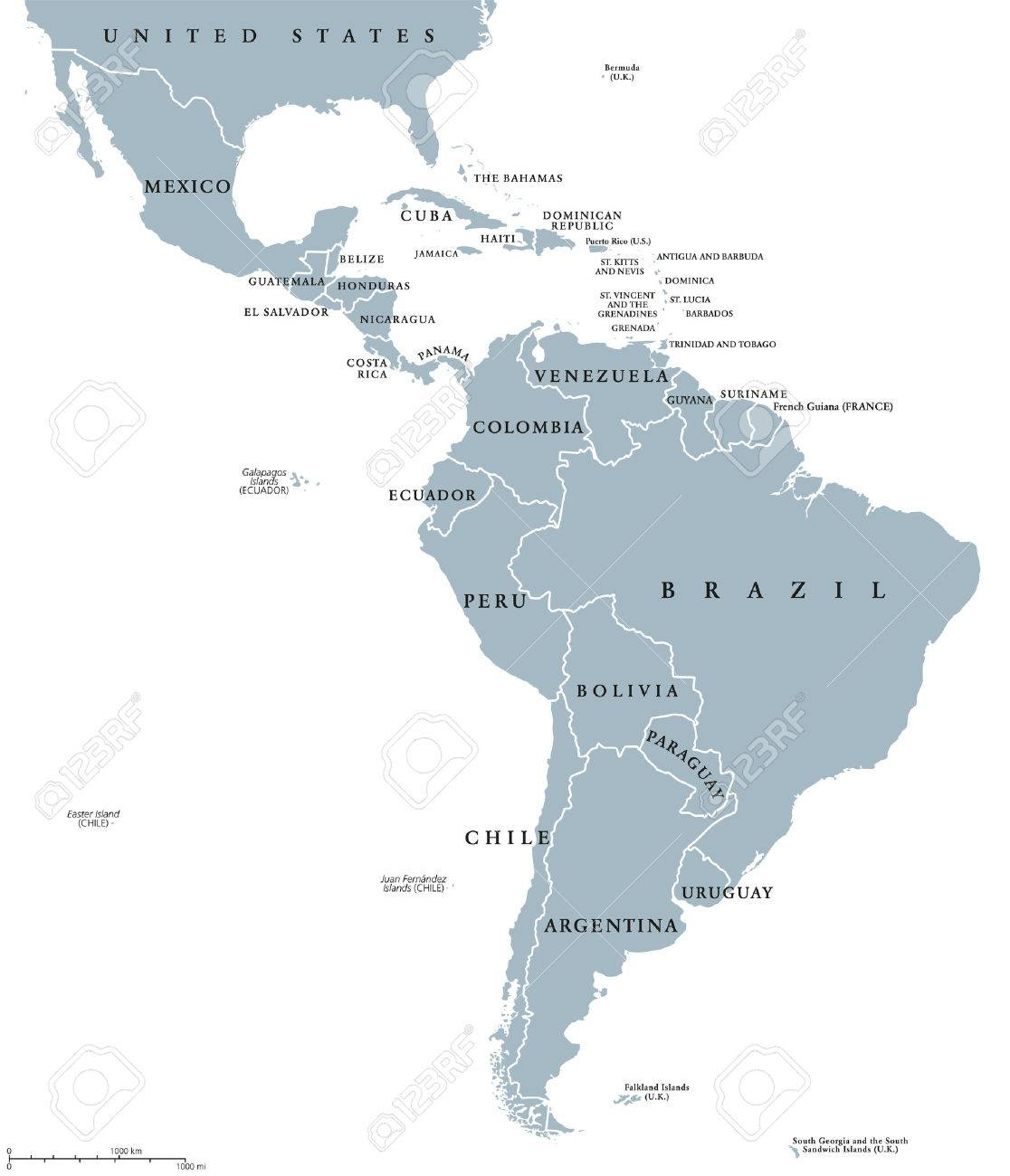 Latin America Countries Political Map With National Borders ...