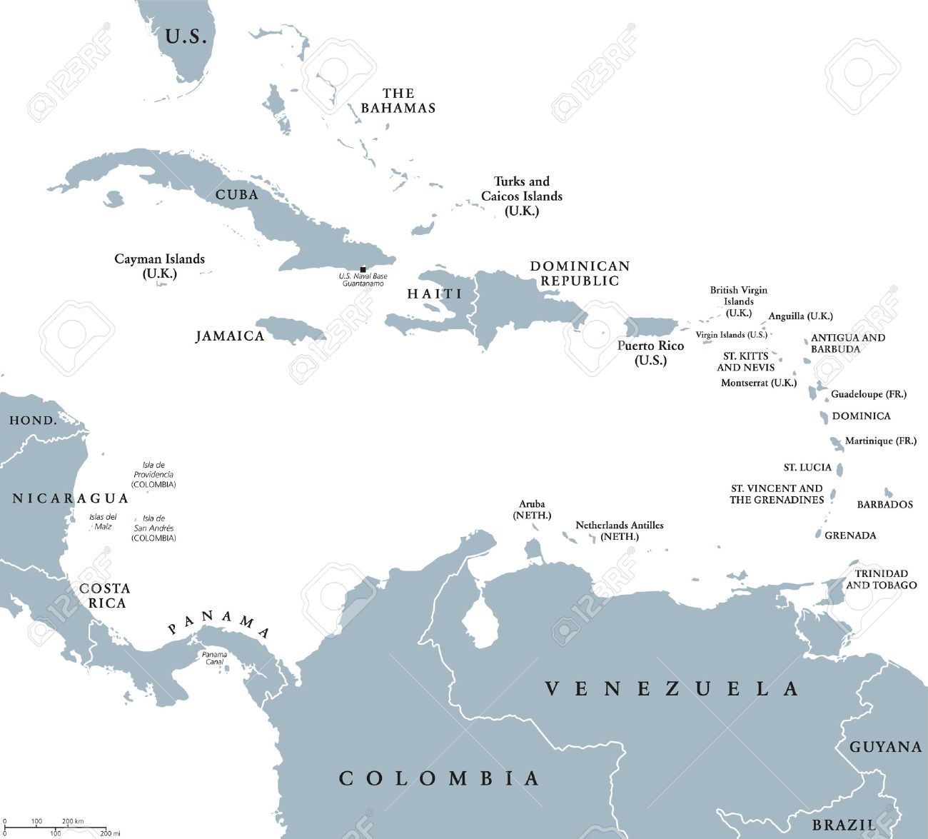 The Caribbean countries political map with national borders...