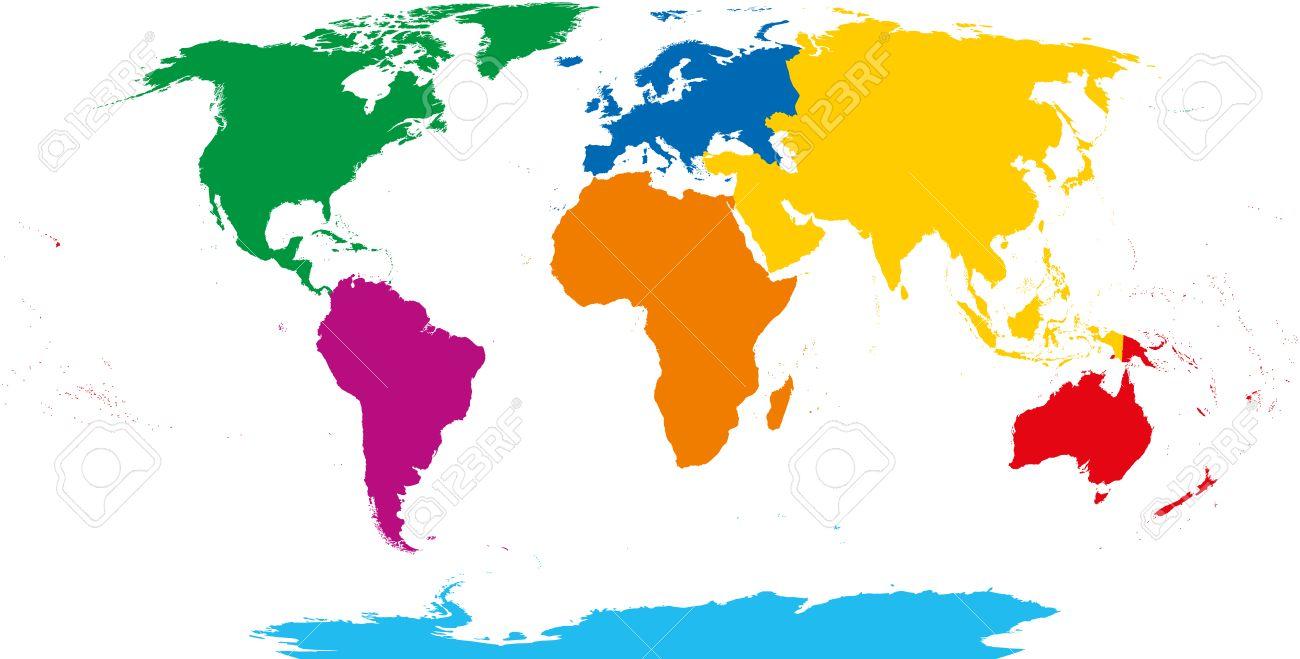 Carte Afrique Jaune Grise Verte.Sept Continents Carte Jaune Asie Afrique Orange Amerique Du Nord Vert Amerique Du Sud Violet Cyan Antarctique Europe Bleu Et L Australie Dans La