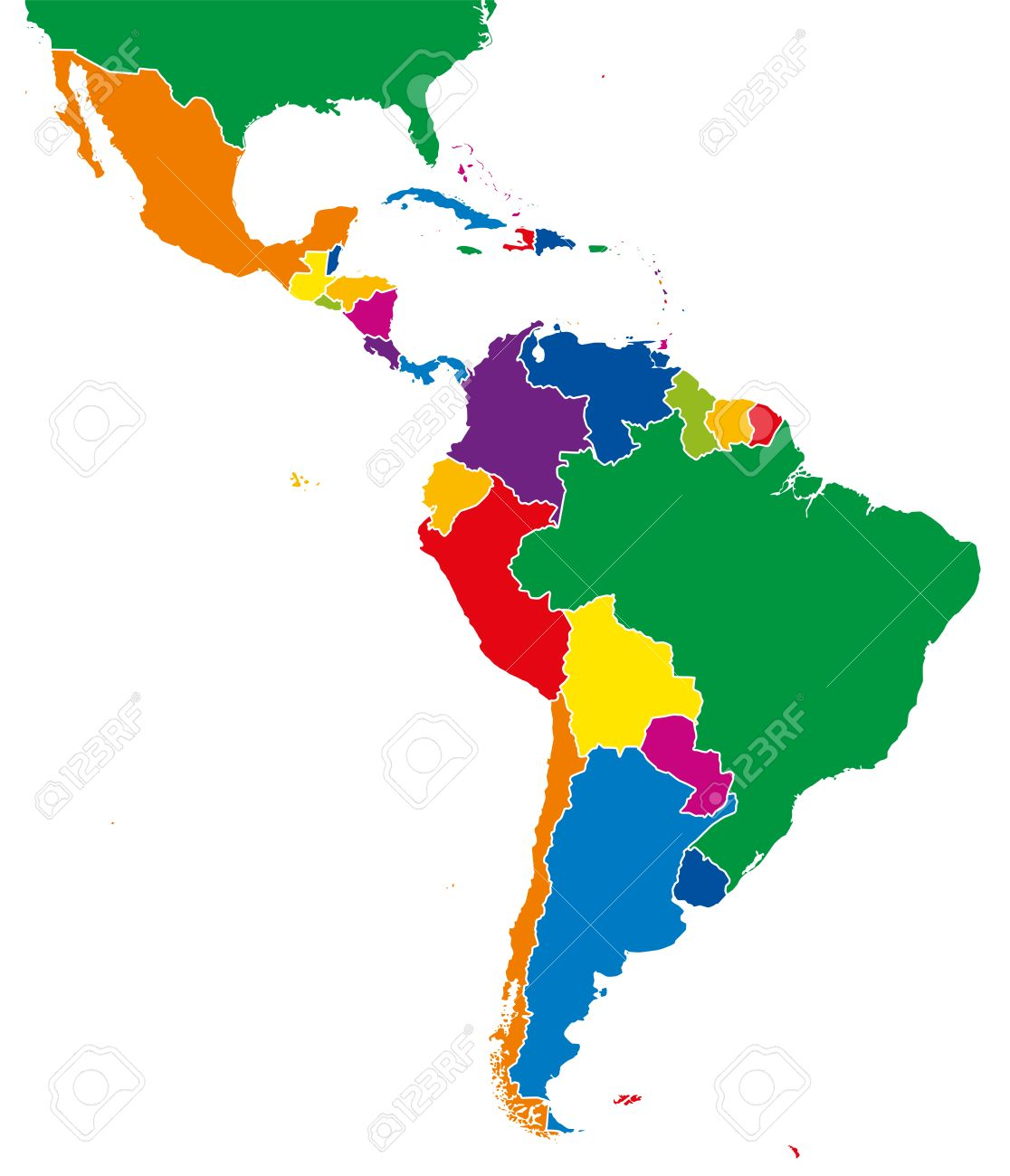 Latin America Single States Map All Countries In Different Full - Map of the latin america