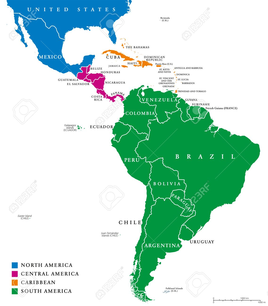 Latin America regions political map. The subregions Caribbean, North, Central and South America in different colors, with national borders and English country names. Illustration on white background. - 64059127